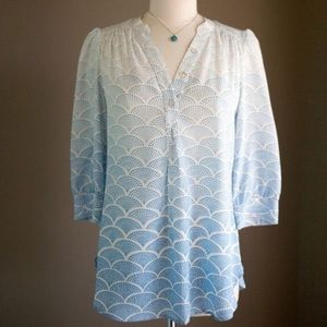 Annie Griffin | Silk Blue/White Split Neck Blouse